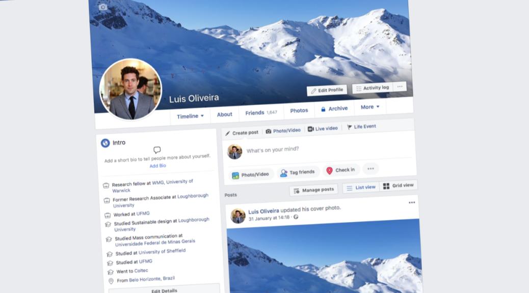 Página do perfil do Facebook