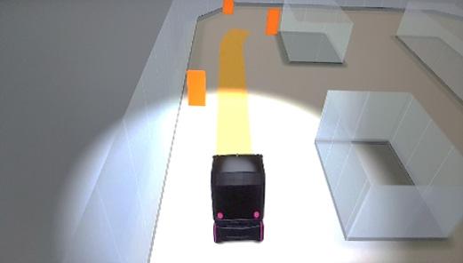 Veículo autônomo, trajetória e riscos na via, em 3D